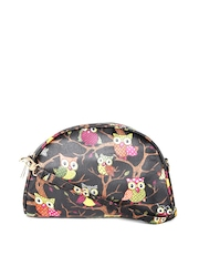 Cappuccino Women Black Owl Print Travel Pouch