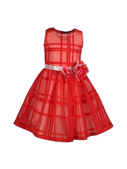 CUTECUMBER Girls Red Checked Fit & Flare Dress