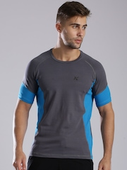 HRX by Hrithik Roshan Charcoal Grey & Blue Training T-shirt