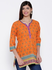 BIBA Orange Printed Kurti