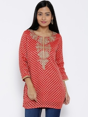 BIBA Red Embroidered Kurti with Woven Design