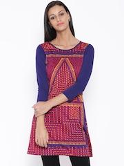 Global Desi Pink & Blue Printed A-Line Kurta