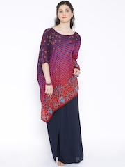 Global Desi Navy & Red Printed Tunic