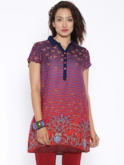 Global Desi Blue & Red Striped Tunic
