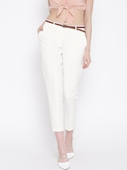 Vero Moda White Cropped Trousers with Belt