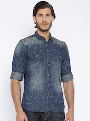 Nature Casuals Navy Printed Slim Casual Shirt