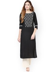 Jaipur Kurti Black & Off-White Kurta with Palazzo Trousers