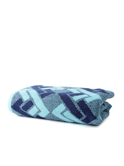 SPACES Finessence Blue Patterned Cotton Bath Towel