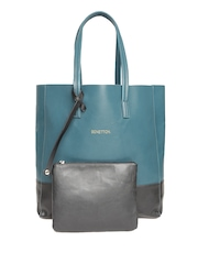 United Colors of Benetton Teal Green Shoulder Bag with Pouch