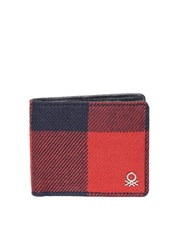 United Colors of Benetton Men Red & Navy Checked Wallet