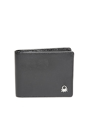 United Colors of Benetton Men Black Textured Genuine Leather Wallet