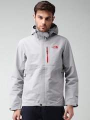 The North Face Grey Melange Relaxed Fit Hooded Jacket