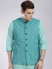Fabindia Turquoise Blue Patterned Nehru Jacket