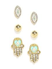 FunkyFish Set of 3 Gold-Toned Stud Earrings