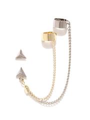 FunkyFish Silver-Toned Earring & Ear Cuff Set