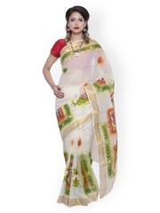 Unnati Silks Off-White Pure Kerala Cotton Printed Saree