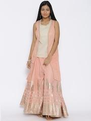 BIBA Beige & Peach-Coloured Printed Top with Sharara Pants & Jacket