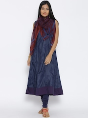 BIBA Navy Denim Printed Anarkali Churidar Kurta with Dupatta