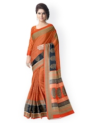 Suvastram Orange Bhagalpuri Art Silk Paisley Print Saree