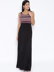 Global Desi Black Printed Maxi Dress