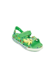 Crocs Boys Green Printed Sandals with LED Light
