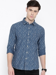 Flying Machine Blue Floral Print Casual Shirt