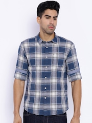Flying Machine Navy & Off-White Checked Casual Shirt