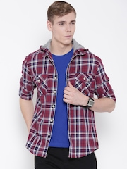 Flying Machine Maroon & Navy Checked Hooded Casual Shirt