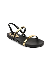 Shoetopia Women Black & Gold-Toned Flats
