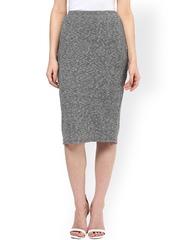 Femella Grey Melange Pencil Skirt