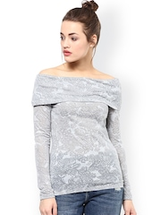 Femella Grey Floral Print Off-Shoulder Top
