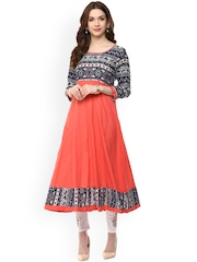 Aum Peach-Coloured Printed Anarkali Kurta