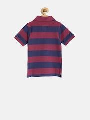 612 League Boys Burgundy & Navy Striped Polo T-shirt