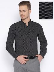 Black Coffee Black Printed Slim Formal Shirt