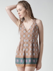 FOREVER 21 Brown & Off-White Printed Playsuit
