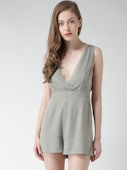 FOREVER 21 Olive Green Criss-Cross Back Playsuit