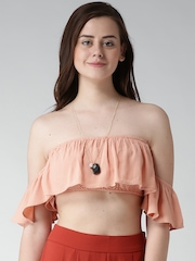 FOREVER 21 Peach-Coloured Layered Off-Shoulder Crop Top