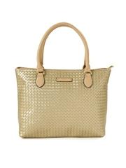 Caprese Muted Gold-Toned Interwoven Detail Shoulder Bag