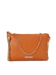 Caprese Tan Brown Liana Sling Bag with Tassel Detail