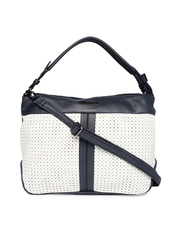 Caprese White & Navy Cut-Work Handbag
