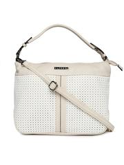 Caprese White & Beige Cut-Work Handbag