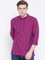 Melange by Lifestyle Pink & Purple Striped Short Kurta