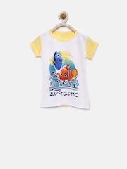 YK Disney Girls White & Yellow Printed T-shirt