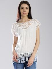 Superdry Off-White Schiffli Crochet Fringe Top