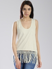 Superdry Off-White Fringe Tank Top