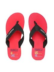 Franco Leone Men Black & Red Printed Flip-Flops