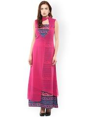 Athena Pink & Blue Printed Layered Maxi Dress