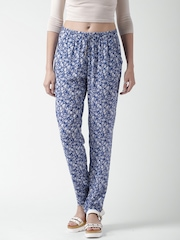 SELA Blue Floral Print Casual Trousers