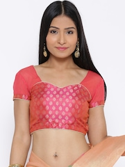 Banarasi Style Pink Raw Art Silk Dual-Toned Patterned Saree Blouse