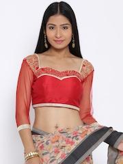 Banarasi Style Red Raw Art Silk Embellished Saree Blouse